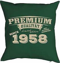 Sprüche-Kissen zum 60 Geburtstag - Geschenk-Idee Dekokissen Jahrgang 1958 : Premium Qualität since 1958 -- Geburtstag 60 Kissen Farbe: dunkelgrün