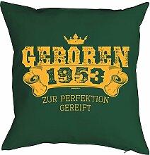 Sprüche-Kissen zum 65 Geburtstag - Geschenk-Idee Dekokissen Jahrgang 1953 : Geboren 1953 zur Perfektion gereift -- Geburtstag 65 Kissen Farbe: dunkelgrün