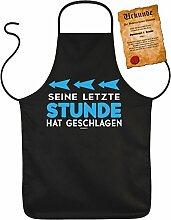 Sprüche-Schürze/Spaß/Grill-Schürze inkl. Fun-Urkunde Junggesellenabschied: Seine letzte Stunde hat geschlagen