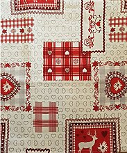 Sprügel - Hirschromantik - Tischdecke / Mitteldecke 85cm x 85cm - Sekt/Rot - 40% Polyester, 30% Baumwolle, 30% Polyacryl