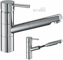 Spültisch Armatur Küchenarmatur Wasserhahn Küche Mischbatterie mit herausziehbarer Brause u. Wassersparfunktion