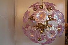 Sputnik Kronleuchter mit rosanen Muranoglasblumen,