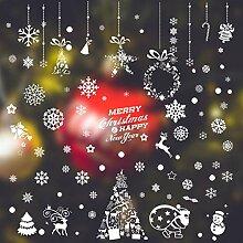 SPZZQVWeihnachten Schneeflocke Aufkleber Glas