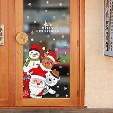 SPZZQVWeihnachtstür Aufkleber Weihnachtsszene