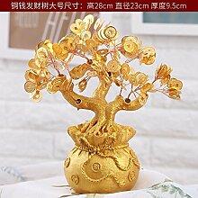 SQBJ Heimtextilien coinside im Wohnzimmer Dekoration Wein Werbegeschenke Zhaocai kleinen Ornamenten, große Goldmünze fortune Baum