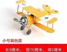 SQBJ Mini Vintage Dose kleine Flugzeuge Modell Heimtextilien Schmuck Shop Dekoration kreative Anzeige Requisiten Geschenke, Trompete gelb