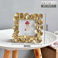 SQBJ Nordamerikanische Kontinentale retro grade Harz goldene Ginkgoblätter 6 Zoll Rahmen/frame/Heimtextilien Schmuck Schmuck, Ginkgo biloba leaf frame-4 Zoll gold
