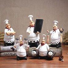 SQBJ Nordic retro kreative Küchenchef Restaurant Wein bar Ornamente Heimtextilien Persönlichkeit Ornamente Cake Shop Dekoration, Ingwer gelb Funktion Chef fünf Stücke