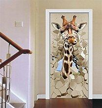 SQL 3D Giraffe Tür Aufkleber Schlafzimmer Badezimmer PVC Dekoration Aufkleber