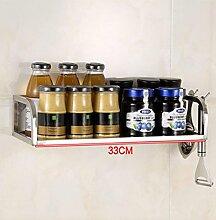 SQL Edelstahl Küche Regal Wandhalterung Gewürz. Gewürz-Regal Bad Küche Lagerung Produkte Anhänger . 33cm