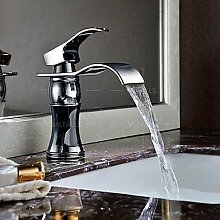 SQL Wasserfall verbreitet Waschbecken Wasserhahn poliert Chrom Einhand Einlochmontage Wasserhahn montieren deck