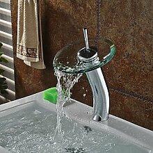 SQL Zeitgenössisch Becken Wasserfall with Messingventil Einhand Ein Loch for Chrom . Badewannenarmaturen / Armatur für die Küche /