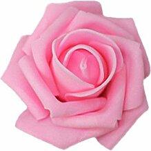 srovfidy 50x Pink Köpfe von Blume Künstliche Schaum Braut Bouquet Dekoration Hochzeit Partei Zubehör Deep Pink
