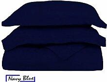 SRP Bettwäsche Fadenzahl 400Supreme Collection 3-teilige Bettwäschegarnitur + 1Spannbetttuch–(massiv Muster) für Halt, die 38,1cm Zoll hochwertiger ägyptischer Baumwolle–(alle Größe, alle Farbe), baumwolle, marineblau, UK King