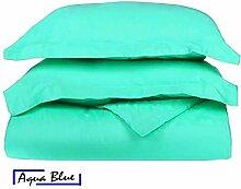 SRP Bettwäsche Fadenzahl 400Supreme Collection 3-teilige Bettwäschegarnitur + 1Spannbetttuch–(massiv Muster) für Halt, die 38,1cm Zoll hochwertiger ägyptischer Baumwolle–(alle Größe, alle Farbe), baumwolle, aqua blue, Emperor
