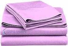 SRP Blissful Schlafen (Set 4-pcs) coziest Bett Bettlaken aus 100% ägyptischer Baumwolle Pocket Tiefe 25,4cm Zoll Passform Tiefe alle Größen und Farben (400TC), baumwolle, lavendel, UK Small Double