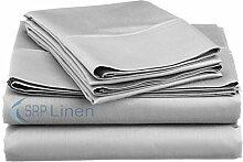 SRP Blissful Schlafen (Set 4-pcs) coziest Bett Bettlaken aus 100% ägyptischer Baumwolle Pocket Tiefe 25,4cm Zoll Passform Tiefe alle Größen und Farben (400TC), baumwolle, silbergrau, UK Single Long