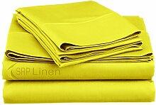 SRP Blissful Schlafen (Set 4-pcs) coziest Bett Bettlaken aus 100% ägyptischer Baumwolle Pocket Tiefe 25,4cm Zoll Passform Tiefe alle Größen und Farben (400TC), baumwolle, gelb, UK Small Single Long