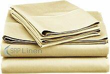 SRP Blissful Schlafen (Set 4-pcs) coziest Bett Bettlaken aus 100% ägyptischer Baumwolle Pocket Tiefe 25,4cm Zoll Passform Tiefe alle Größen und Farben (400TC), baumwolle, cremefarben, Doppelbe