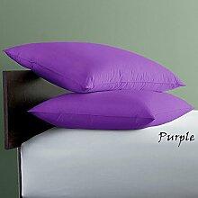 SRP Leinen 250-thread-count Solid Ägyptische Baumwolle Luxus & Super Weich Hausfrau Kissen wählen Sie Farbe und Größe (alle Größen und Farben), Ägyptische Baumwolle, violett, UK King/Queen