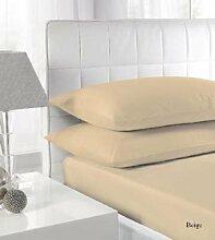 SRP Leinen 300-thread-count Solid Ägyptische Baumwolle Luxus & Super Weich Hausfrau Kissen wählen Sie Farbe und Größe (alle Größen und Farben), Ägyptische Baumwolle, beige, UK King Pillow Case
