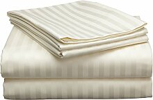 SRP Leinen Ägyptische Baumwolle 300-thread-count Super Soft Bed Sheet Set UK Größen gestreift Passform bis 25cm oder 25,4cm Zoll Tiefe Pocket, baumwolle, elfenbeinfarben, UK Small Single Long