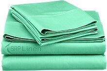 SRP Leinen Ausgezeichnete Qualität massiv 3-teilig regelmäßiger Anwendung Bettwäsche Fadenzahl 400(Farbe–alle Farben) alle Größen–aus 100% ägyptischer Baumwolle, baumwolle, aqua blue, Doppelbe