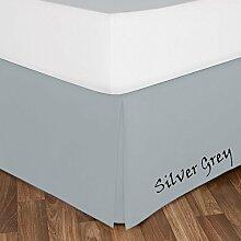 SRP Leinen Ultra Berühren massiv Bett Rock (1):-alle Größen (400Fadenzahl) mit perfekt 25,4cm Zoll Drop Länge alle Farben–100% Ägyptische Baumwolle, baumwolle, silbergrau, Euro Double IKEA
