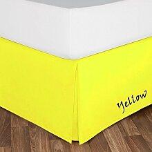 SRP Leinen Ultra Berühren massiv Bett Rock (1):-alle Größen (400Fadenzahl) mit perfekt 25,4cm Zoll Drop Länge alle Farben–100% Ägyptische Baumwolle, baumwolle, gelb, Doppelbe