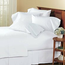 """SRP Linen Real 300-Thread-Count Super Soft Extra Deep Pocket 4-Pieces 100-Percent Cotton Percale Sheet SetFull XL (Full Extra Long) Solid White Fit Up to 16"""" inches Deep Pocket by SRP Linen"""
