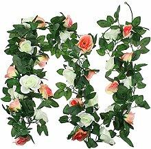 SRunDe 2PCS Gefälschte Rosen Rebe Künstliche