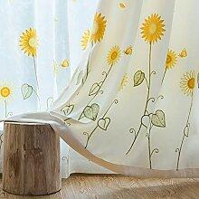 SS&LL Halbschatten Stickerei Gardinen,Sonnenblumen