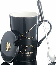 SSBY 12Constellation Keramik-Kaffeetasse, Becher mit Deckel Löffel, Schwarz, Bone China Becher. B