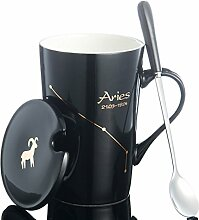 SSBY 12Constellation Keramik-Kaffeetasse, Becher mit Deckel Löffel, Schwarz, Bone China Becher. L