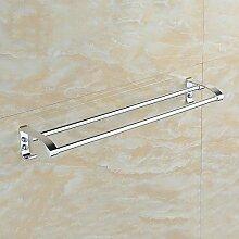 SSBY Aluminium-Handtuch-Rack-Platz, Doppel Handtuchhalter, solide Basis verdickt, Bad-Accessoires, Handtuch Bars Takt Licht , 50 cm