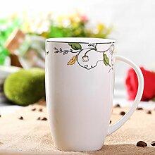 ssby Bone China Tasse Keramik Becher von groß Kapazität Haushalt Wohnzimmer Tee Tasse Drum F