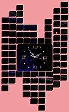 ssby-diy Fashion Wanduhren, Acryl Spiegel, quadratisch, Uhr, Creative Schlafzimmer Spiegel Dekorative Wandtattoo Uhr schwarz