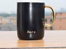 SSBY Ein Schwarz-Weiß-Keramik Knochen Büro Becher Mit Deckel Der Kaffee-Liebhaber Ein Glas Wasser TrinkenEin