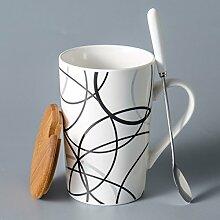 SSBY Einfache Kreative Keramische Kaffeetasse Ein Paar Großer Becher Mit Decken Löffel Kaffee.Ich