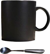 SSBY Europäische Keramik schwarz matt matt Creative Kaffee Tasse Einfach Großer Becher mit Löffel 420ml Kaffee Tasse, keramik, Schwarz