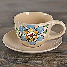 ssby European Style der Antiken Keramik Cup Creative handgemaltes Minimalist Persönlichkeit Becher Kaffee Tasse Set C