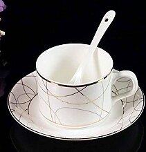 SSBY Gehobenen Kaffeetasse set, Porzellan Kaffee Becher Set mit 3, Keramik Kaffeetassen und Untertassen , A
