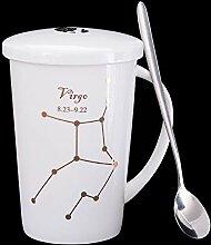 ssby Home Wohnzimmer Trinken Becher Keramik Löffel Tasse mit Deckel Hohe Tasse Office Bone China Kaffee Tasse h
