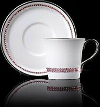 SSBY Inneneinrichtungsgegenstände Praktische Kaffee Tasse Keramik-Becher Bone China Kaffeetasse Silbernen Rand