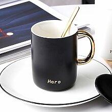 SSBY Keramik-Becher Ein Paar Kaffee Bedeckt Mit Cover Des Home Office Tee LöffelSchwarz