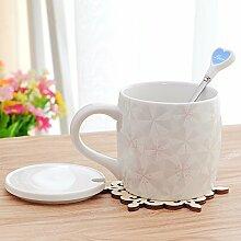 SSBY Keramik-Becher Mit Decken Ein Glas Wasser Zu Trinken Das Paar Relief Office KaffeeEin