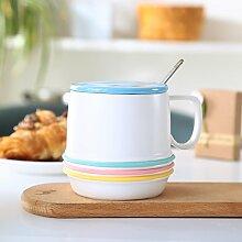 SSBY Keramik-Becher Mit Löffel Ein Glas Wasser Zu Trinken Persönlichkeit China Büro Becher Kaffee Große KapazitätenBlau