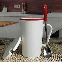 SSBY Keramik-Cup Großen Becher Ein Paar Becher Kaffee Mit Decken Löffel Milch-CupB