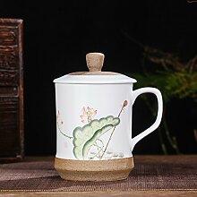 SSBY Keramik-Cup Handbemalte Filter-Cup Becher Mit Decken Das Büro Der TeetasseB