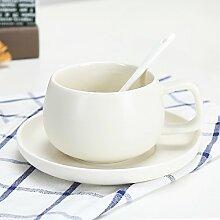 SSBY Keramik-Kaffeetasse Cup-Becher Mit Löffel Wohnzimmer Büro Ein Glas Wasser Zu Trinken Mit Kissen Die Milch-CupWeiße